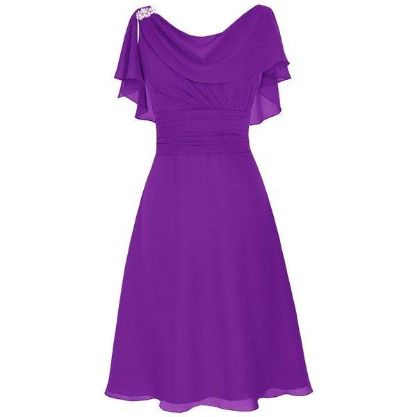 Dresstells Short Prom Dress Cowl Bridesmaid Dress Chiffon Mother of... ($13) ❤ liked on Polyvore featuring dresses, chiffon prom dresses, bridesmaid dresses, bridal bridesmaid dresses, short dresses and chiffon dress