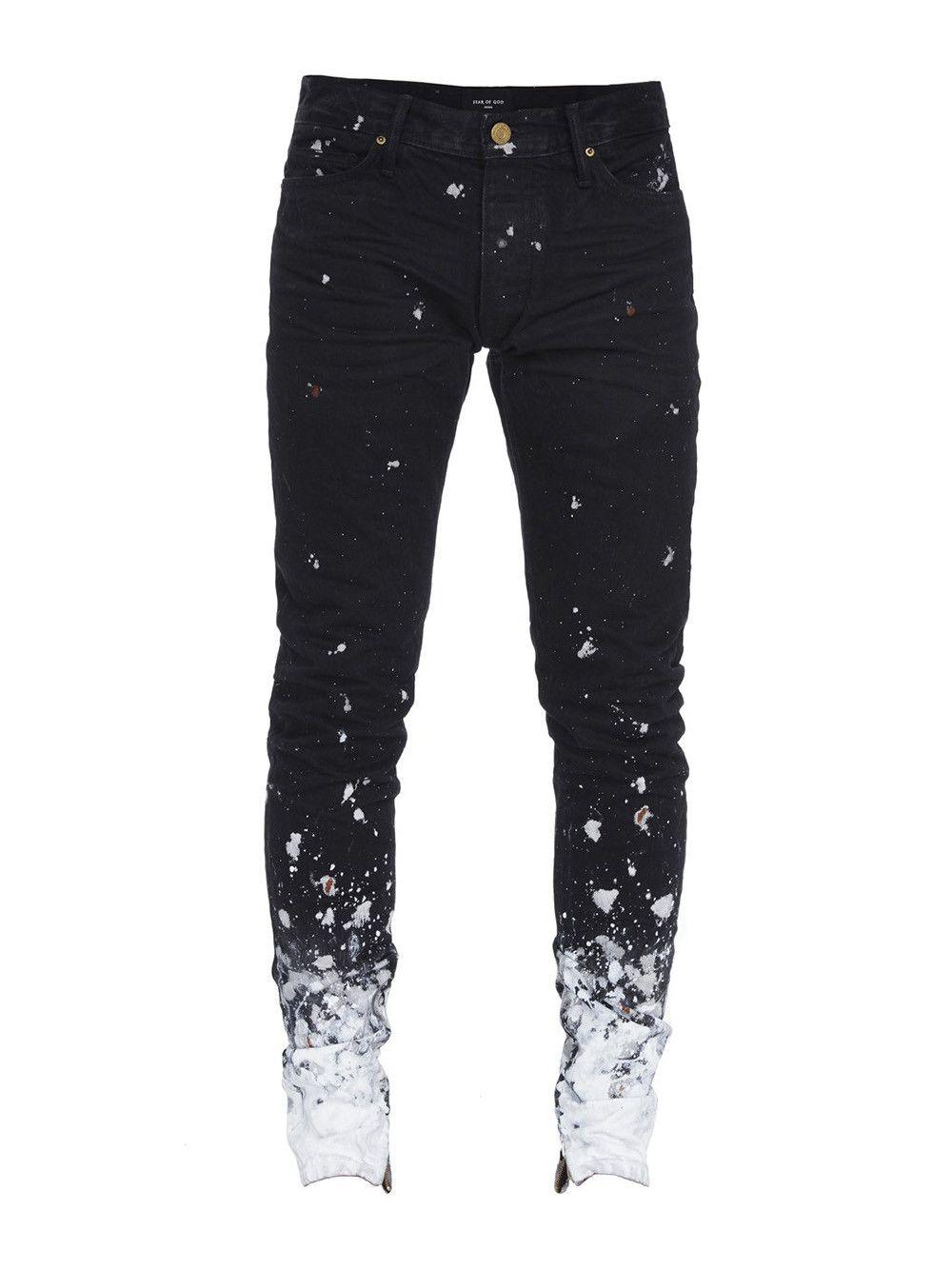 Fear Of God Skinny Fit Zip Detailed Painted Selvedge Denim Jeans In Black Romper Modesens パンツ パンク