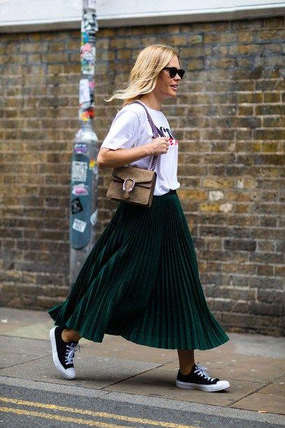 90ce4a7d03 20 manera de llevar la falda plisada   20 ways to wear the pleated skirt  Midi