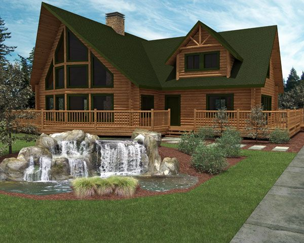 Luxury Home Designs: Luxury Log Home Plans Small Fountain, House, Landscape