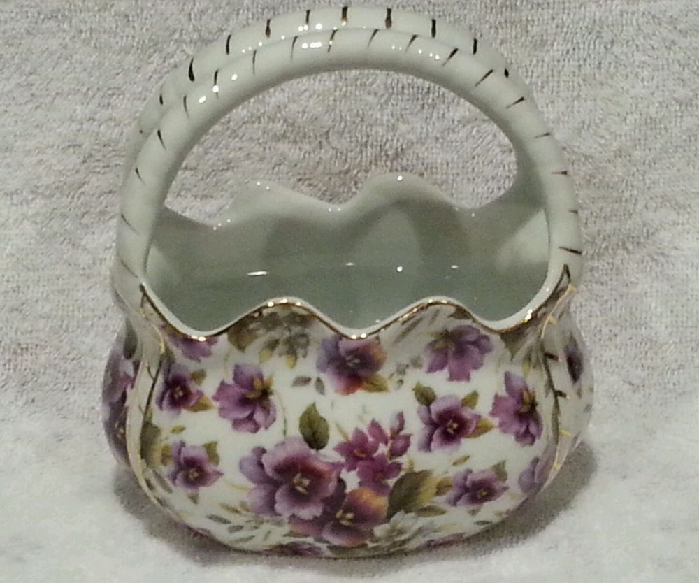 Purple floral porcelain china basket formalities by baum brothers purple floral porcelain china basket formalities by baum brothers gold trim reviewsmspy