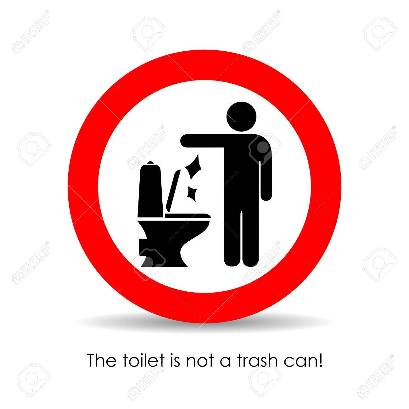 Toilet Is Not A Trash Can Vector Sign Trash Can Trash Toilet Sign