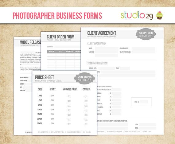 Photography Forms Template Kit - Client Agreement, Print Release and