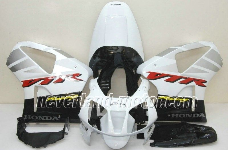 Carenado de ABS de Honda VTR1000 RC51 2000-2006 - Negro/Blanco/Plateado