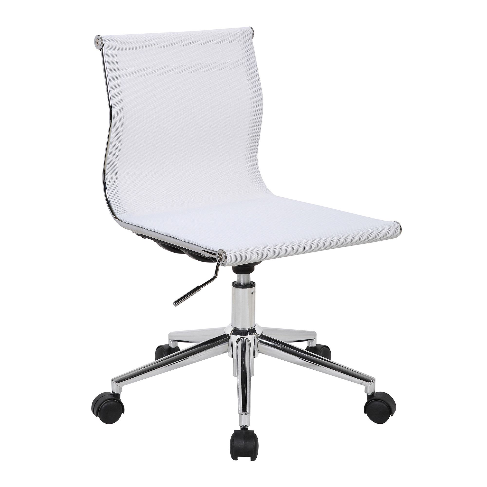 Mirage Contemporary Task Chair In Chrome & White