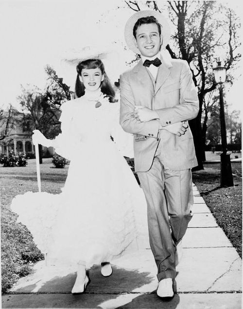 """Judy Garland and Tom Drake in """"Meet Me in St. Louis"""",  publicity still."""