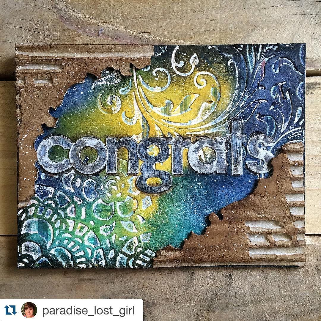 """«#Repost @paradise_lost_girl with @repostapp. ・・・ Trying to get my crafty mojo back and needed a """"congrats"""" card ~ thanks to @tim_holtz March Tag Remix…»"""