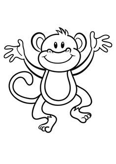 monkey template animal templates - Baby Shower Monkey Coloring Pages