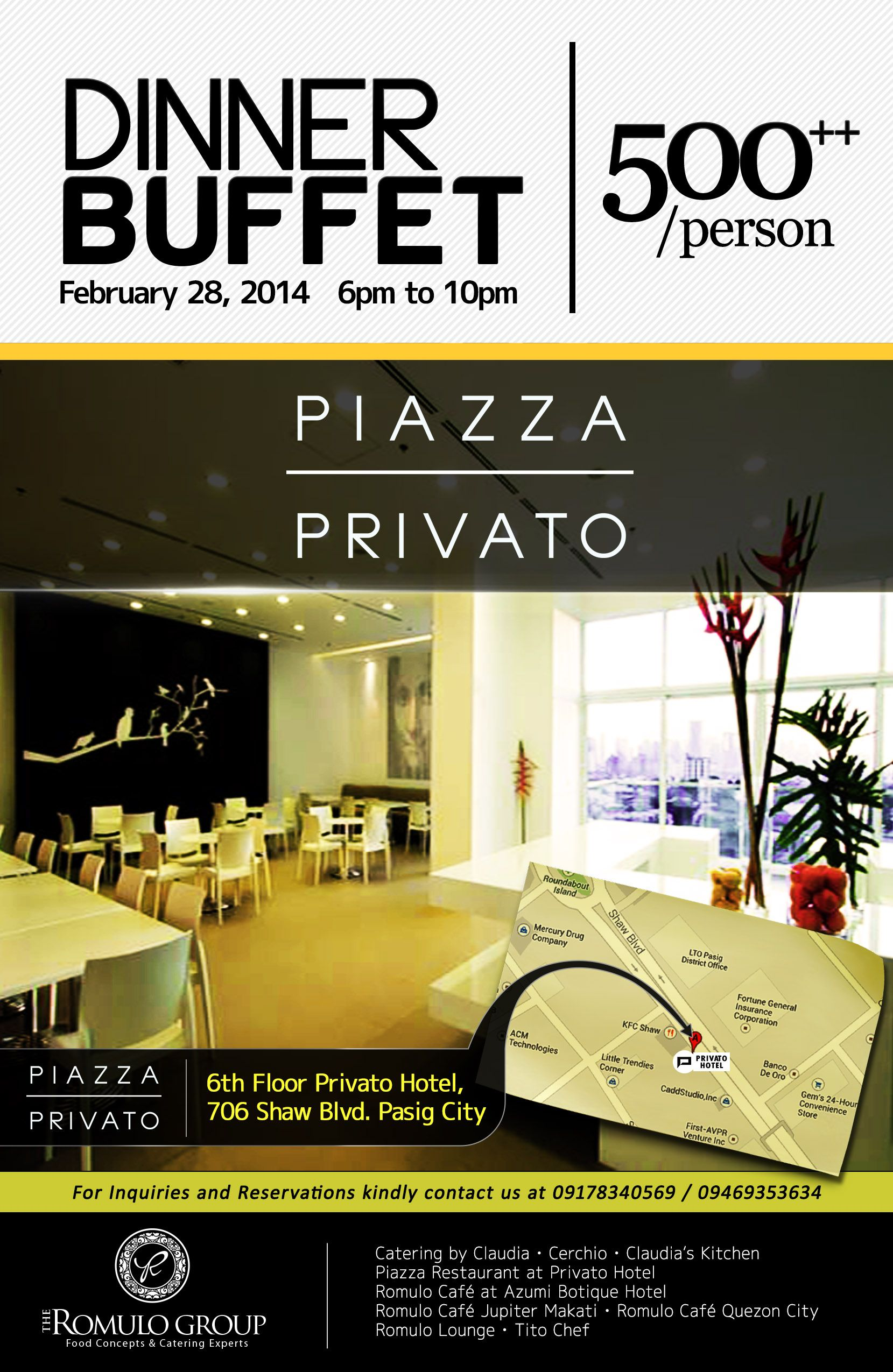 Privato Hotel Acoustic Dinner Buffet Flyer  Romulo Group Company