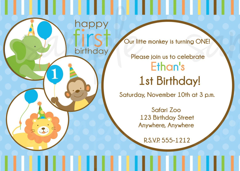 jungle animal 1st birthday invitations | birthday invitations ...