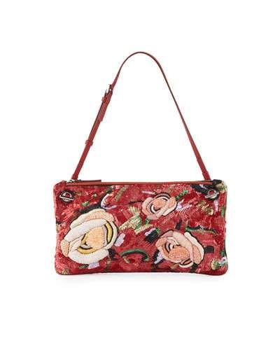 db02a92329 V2Y8T THE ROW Happy Hour 10 Floral Pouch Shoulder Bag