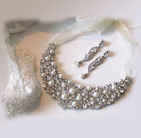 Bridal jewelry set  Bridal bib necklace by BijouxandCouture, $87.50