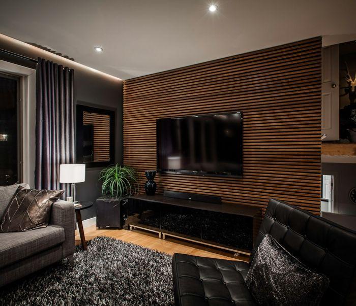 Super Moderne Wohnwand Aus Holz   Luxus Wohnzimmer