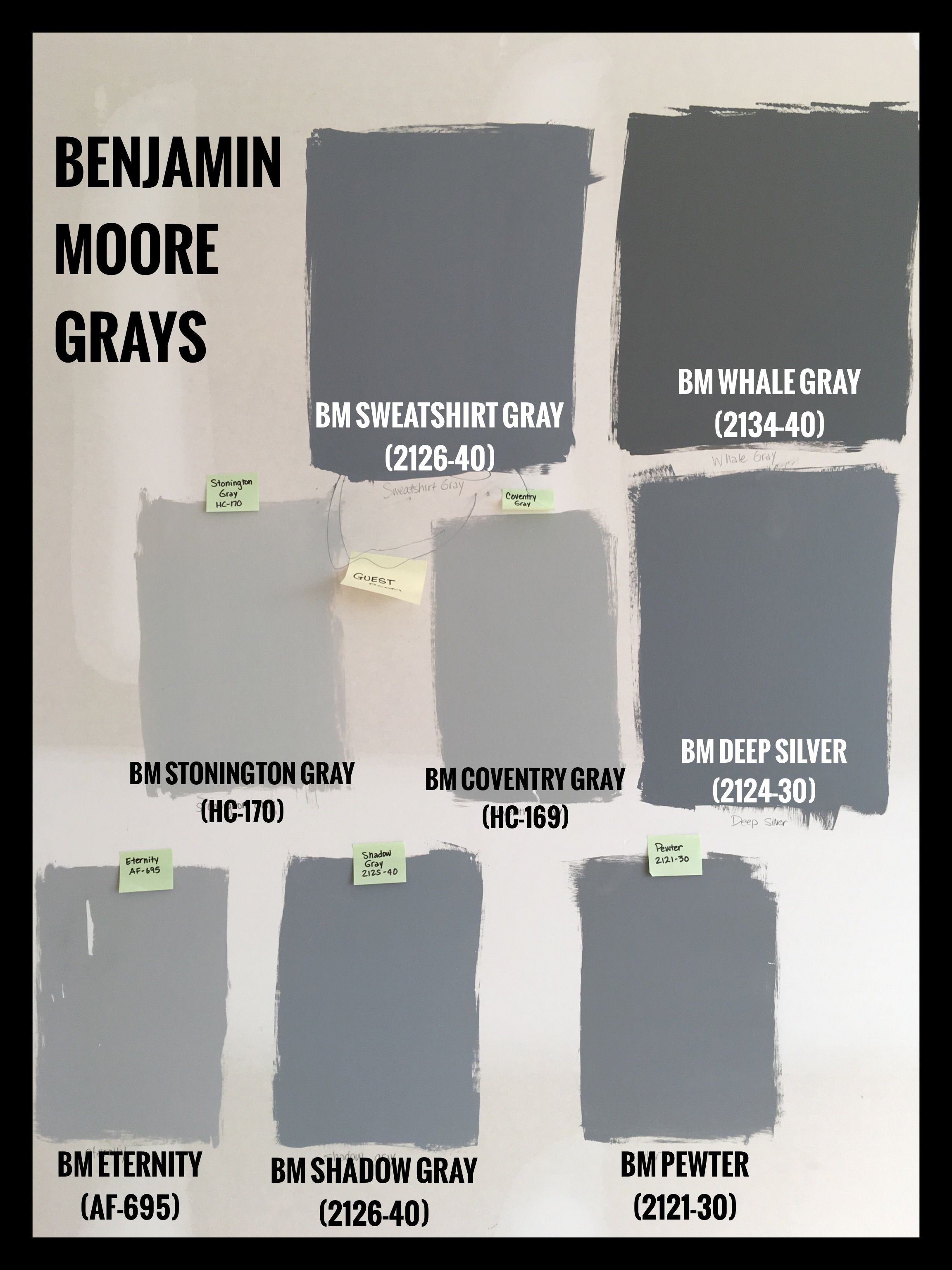 Benjamin Moore Gray Paint Swatches Bm Sweatshirt 2125 40 Whale 2134 Stonington Hc 170 Coventry 169