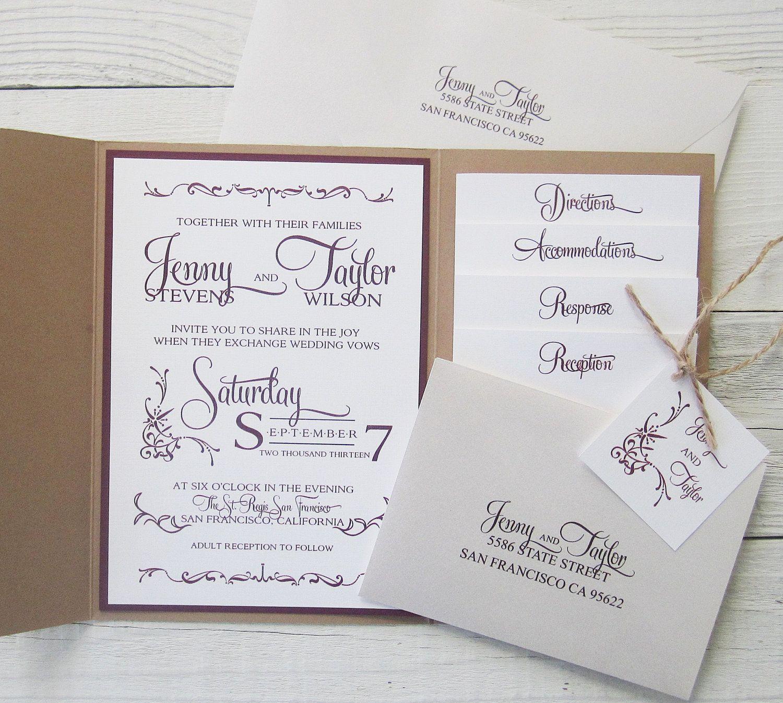 Rustic Kraft Wedding Invitation - Pocket Country Twine Purple Maroon ...