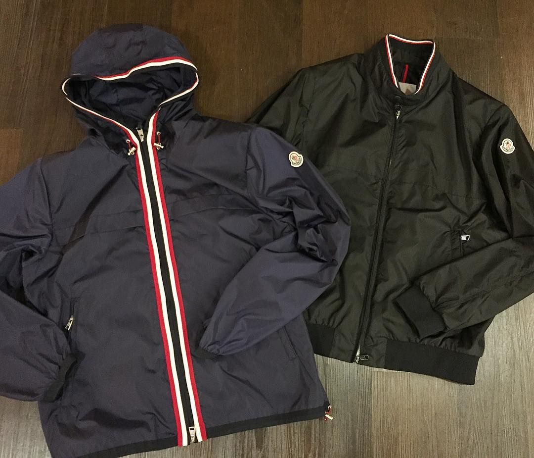 Lightweight shell jackets from Moncler - the navy hooded 'Anton' and the black 'Albert' are both available in store now priced 365 each.