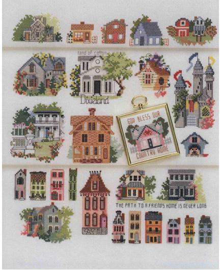 50 Häuser Cross stitch, Cross stitch house, Cross stitch