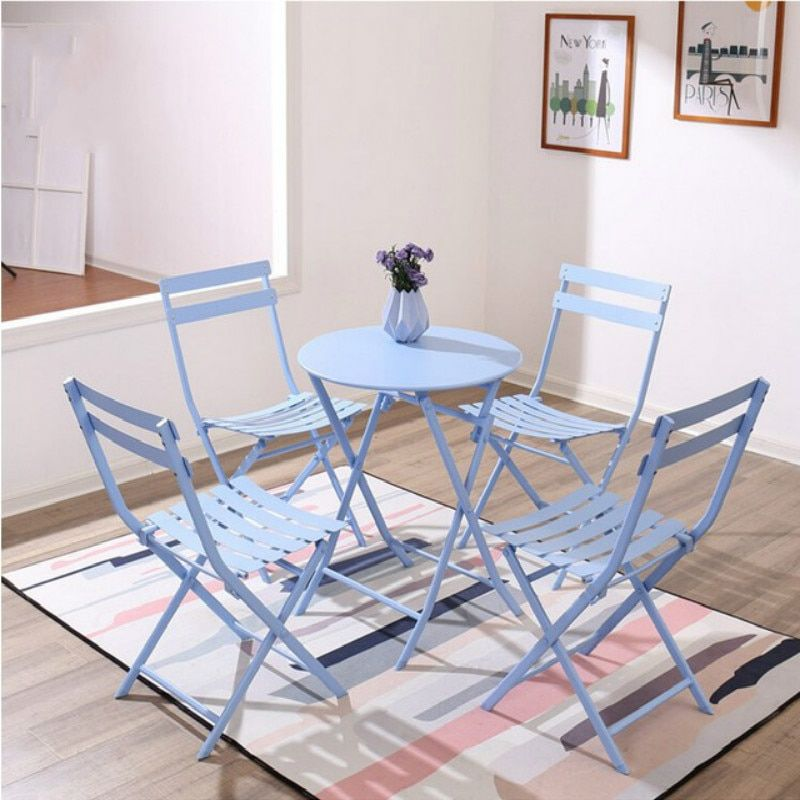 15 Modern Wrought Iron Table And Chair Combination Folding Outdoor