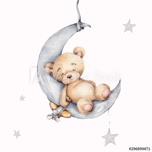 Cute sleeping teddy bear on the silver moon; watercolor hand draw illustration; with white isolated background - Buy this stock illustration and explore similar illustrations at Adobe Stock