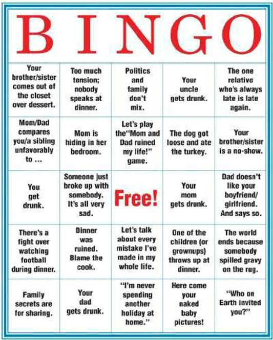 Dysfunctional Family Bingo, Ima print this out and play it secretly