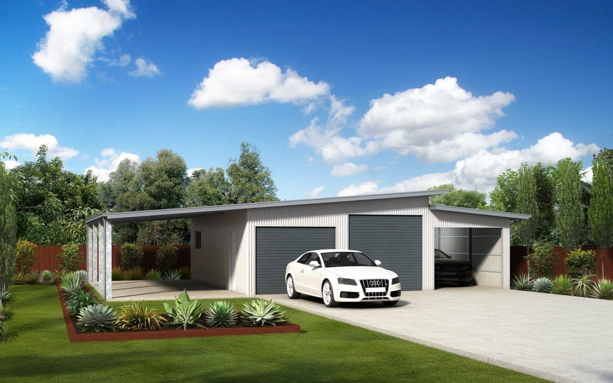Double skillion triple garage with awning (With images