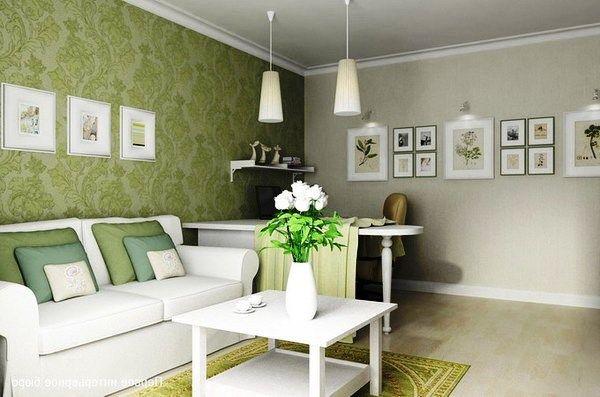 Сочетание обоев двух цветов в гостиной: фото с примерами ...