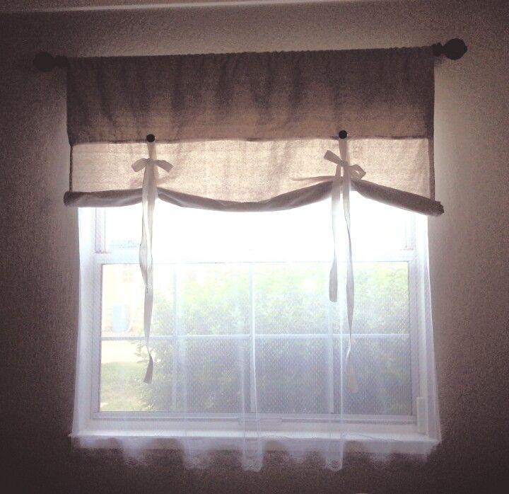 Diy Drop Cloth Tie Up Double Curtain With Lace Underneath Under 15 Diy House Projects Home Double Curtains