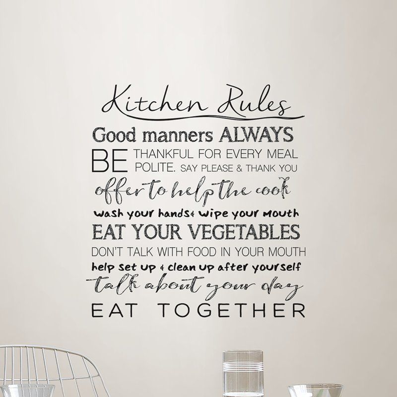 Kitchen Rules Quote Wall Decal #kitchenrules