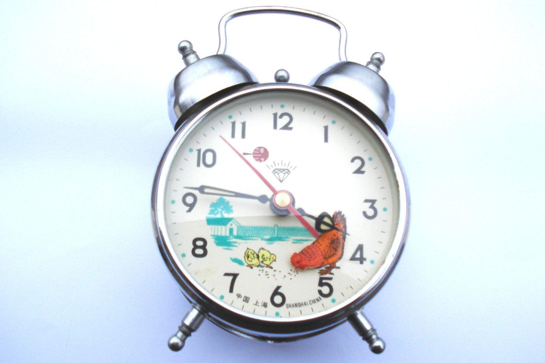 Vintage Chinese Diamond Mechanical Alarm Clock Shanghai China