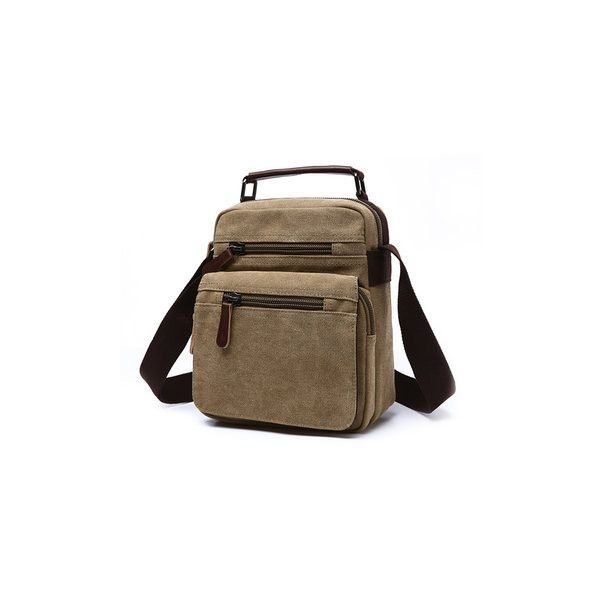 Men Canvas Casual Multi-pocket Shoulder Bags Outdoor Travel Crossbody... (1.750 RUB) ❤ liked on Polyvore featuring men's fashion, men's bags, khaki, mens crossbody bag, mens hand bag, mens canvas travel bag, mens canvas bags and mens purse bags