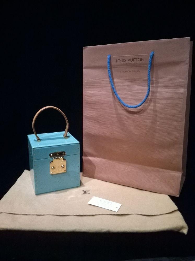 dff6857952 LOUIS VUITTON Monogram Vernis Bleecker Box Bag RARE Baby Blue AUTHENTIC |  eBay