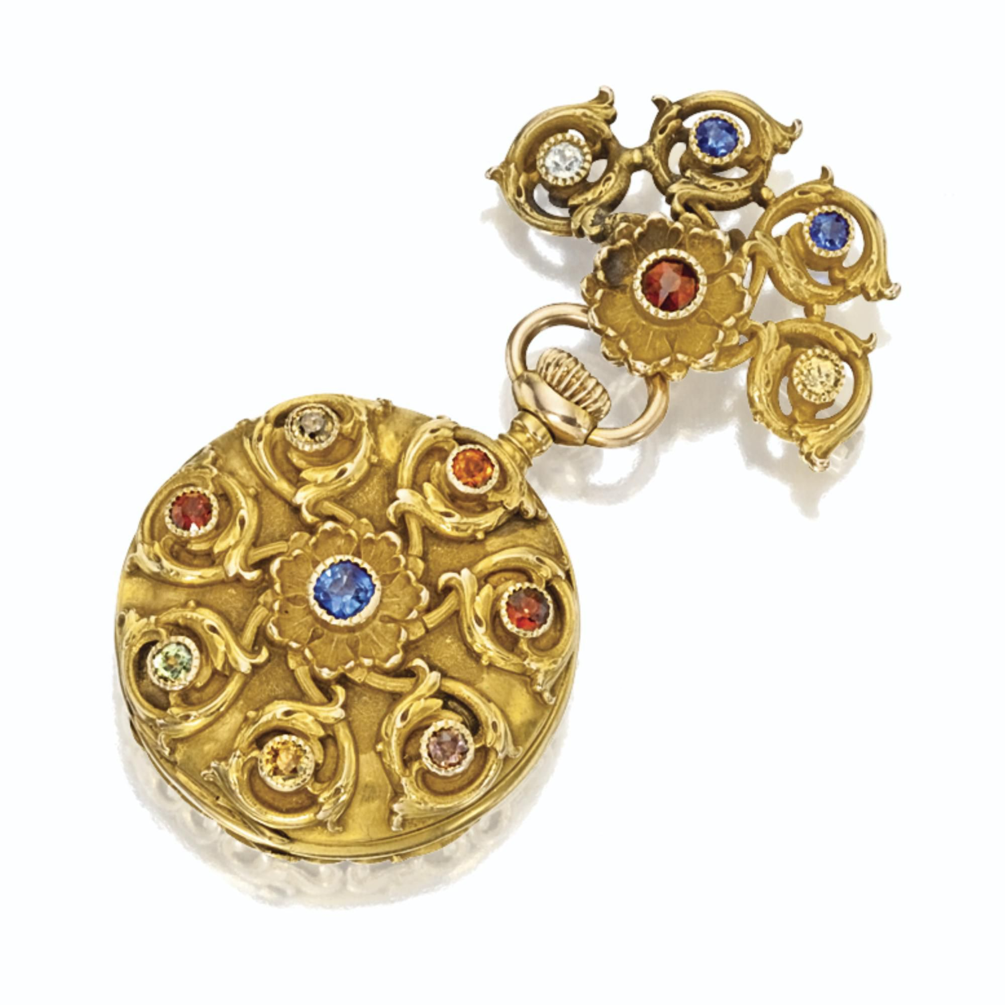 Gold and colored stone pendantwatch tb starr circa lot