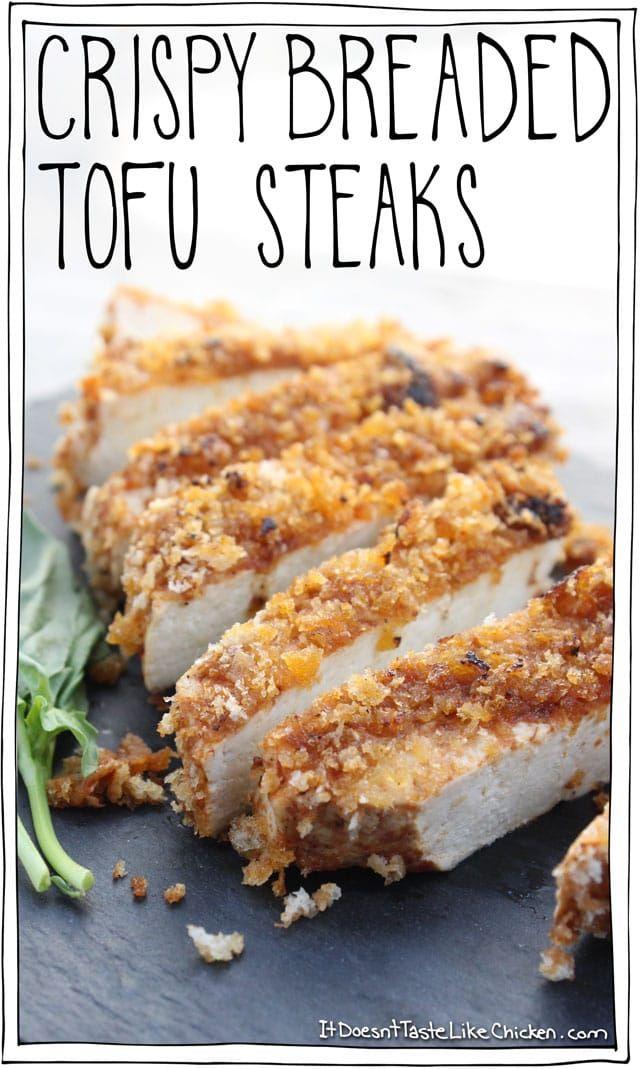 Crispy Breaded Tofu Steaks • It Doesn't Taste Like Chicken