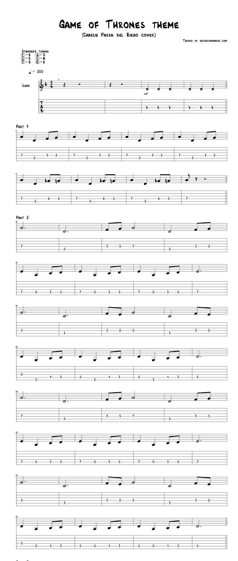 Game Of Thrones Theme Guitar Tabs Acoustic Pdf Acoustic
