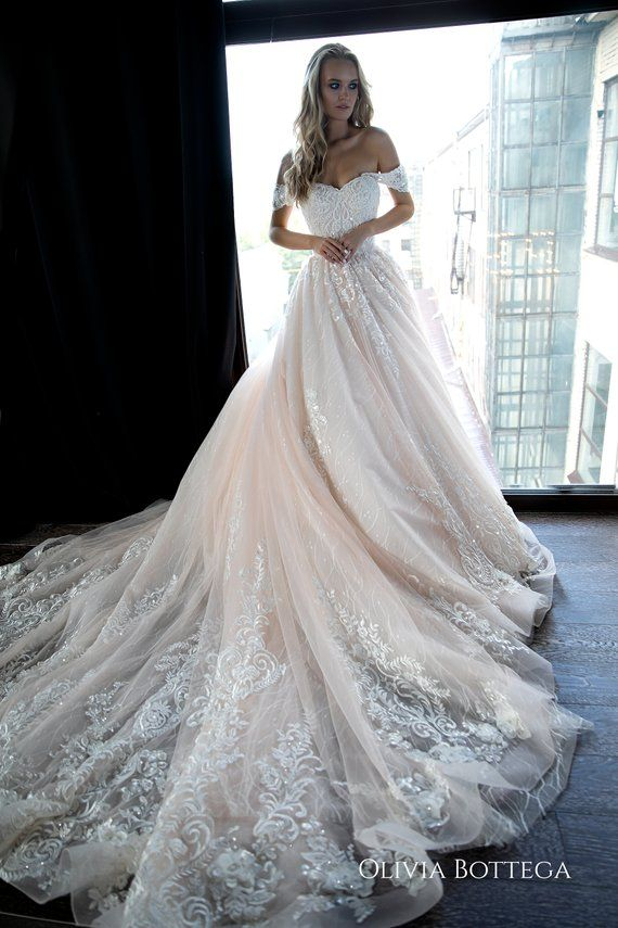 Off shoulder ball wedding dress Sheldon by Olivia Bottega. Lace wedding dress. Princess wedding dress. Mod wedding dress.