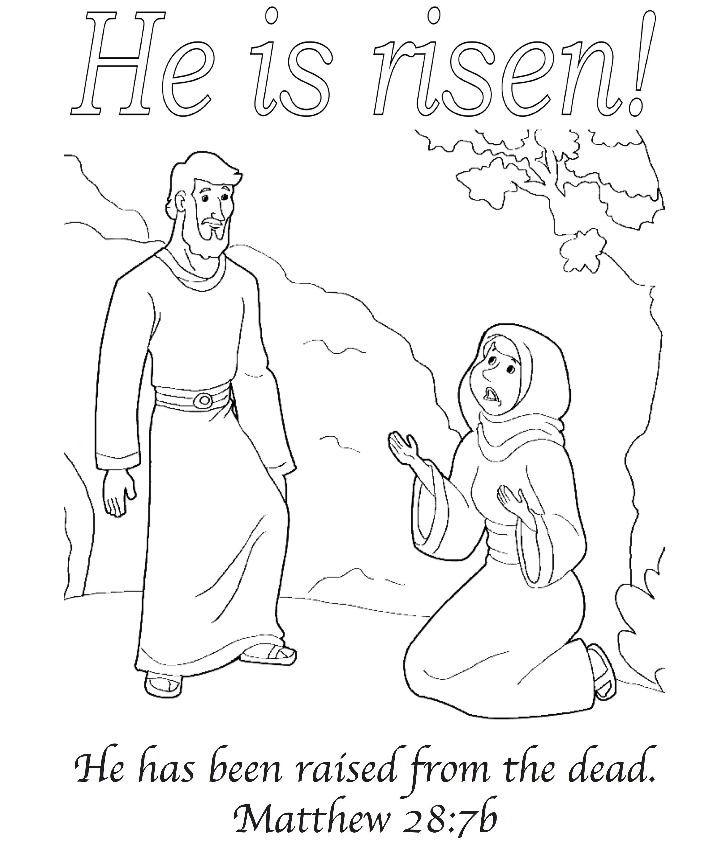 He Is Risen Easter Greeting Card With Matthew 28 7b Jesus Is Alive Coloring Pages Sunday School Coloring Pages [ 3349 x 2878 Pixel ]