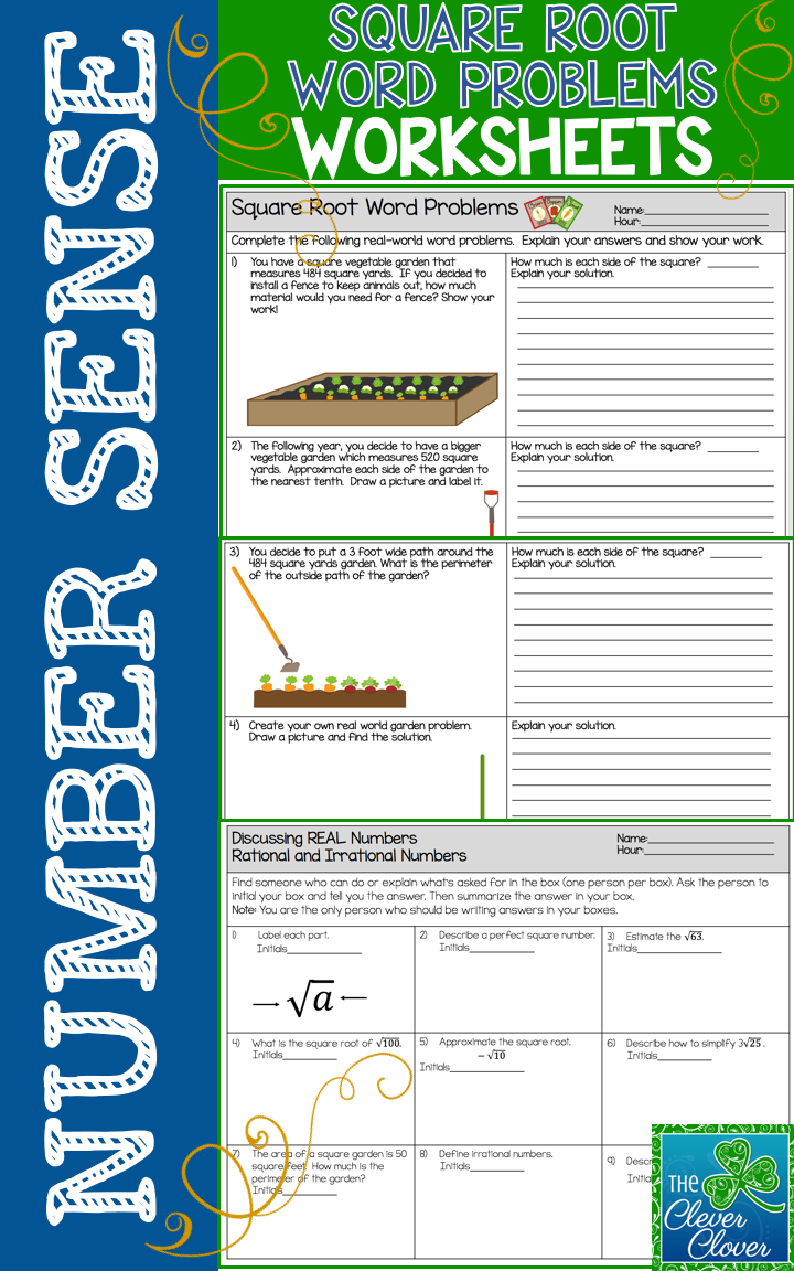 Workbooks perfect square worksheets 8th grade : Square Root Word Problems - Worksheets and Find Someone Who ...