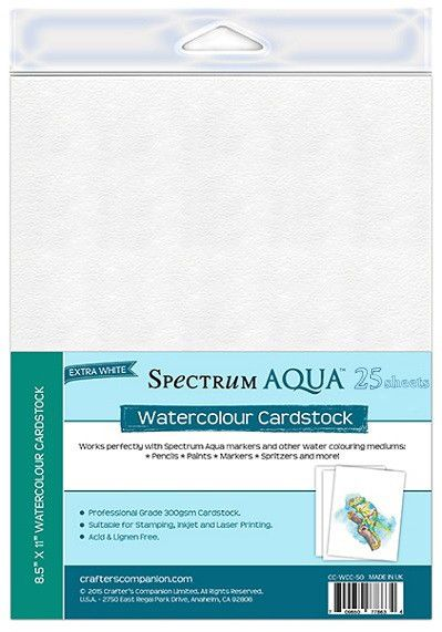 Spectrum Aqua Watercolor Paper Cardstock Pkg Of 25 Sheets