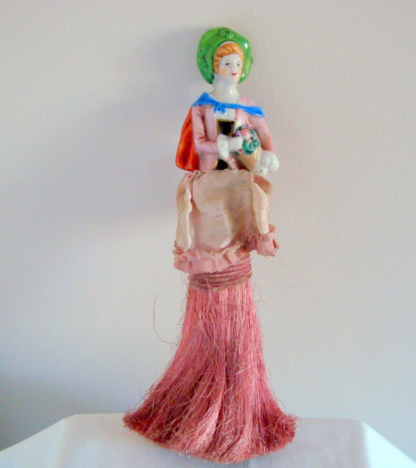 Vintage Half Doll Porcelain Pin Cushion Lady. Table Crumb Brush/ Clothes  Brush. Marked