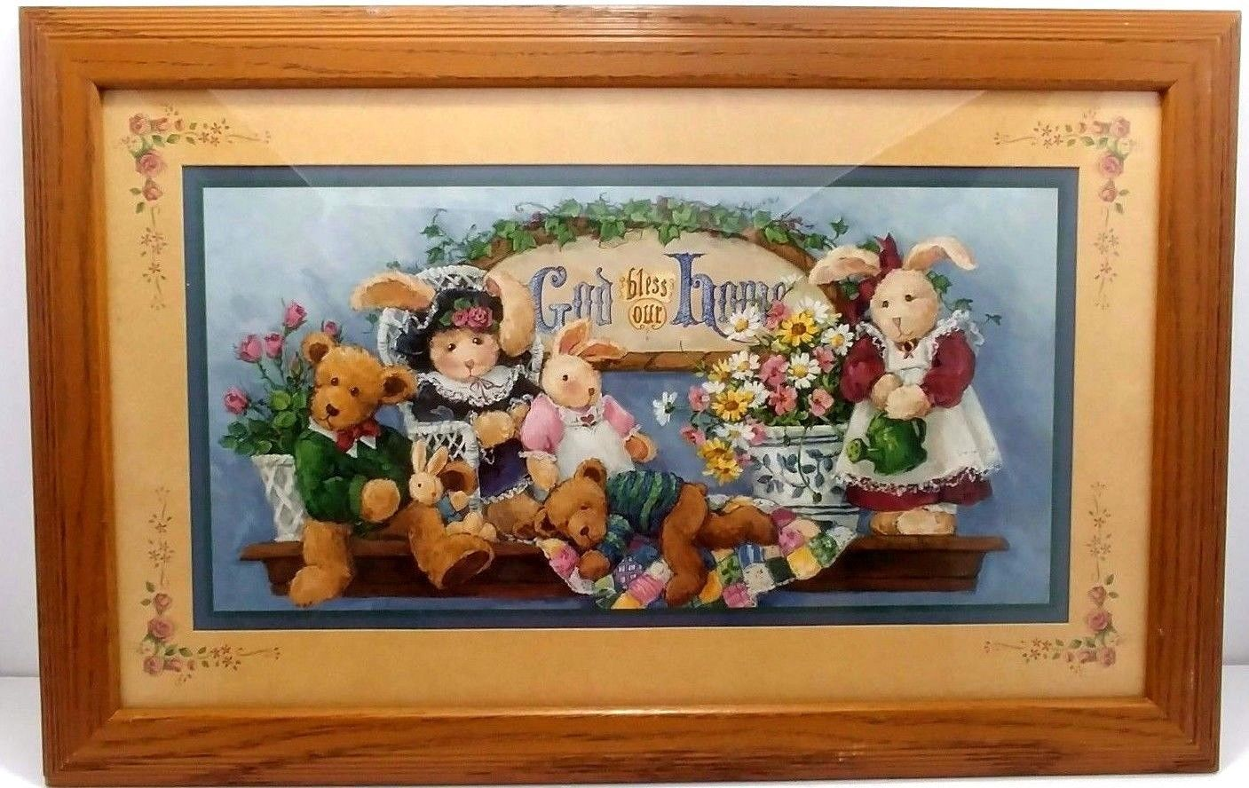 Home Interiors God Bless Our Home Homco Gifts Barbara Mock Teddy Bears Bunnies Ebay Homco