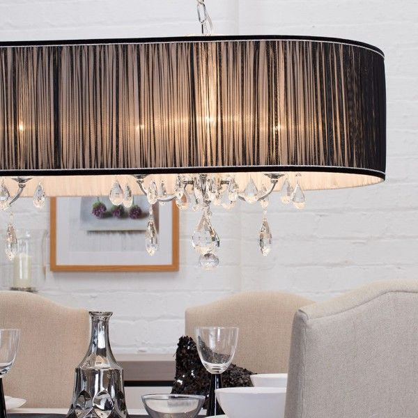 L\'amour 8 Light Double Chandelier in Pleated Shade - Black with ...