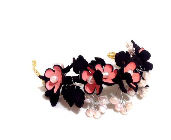 Statement bracelet with flowers and pearls Branch by julishland, $22.00