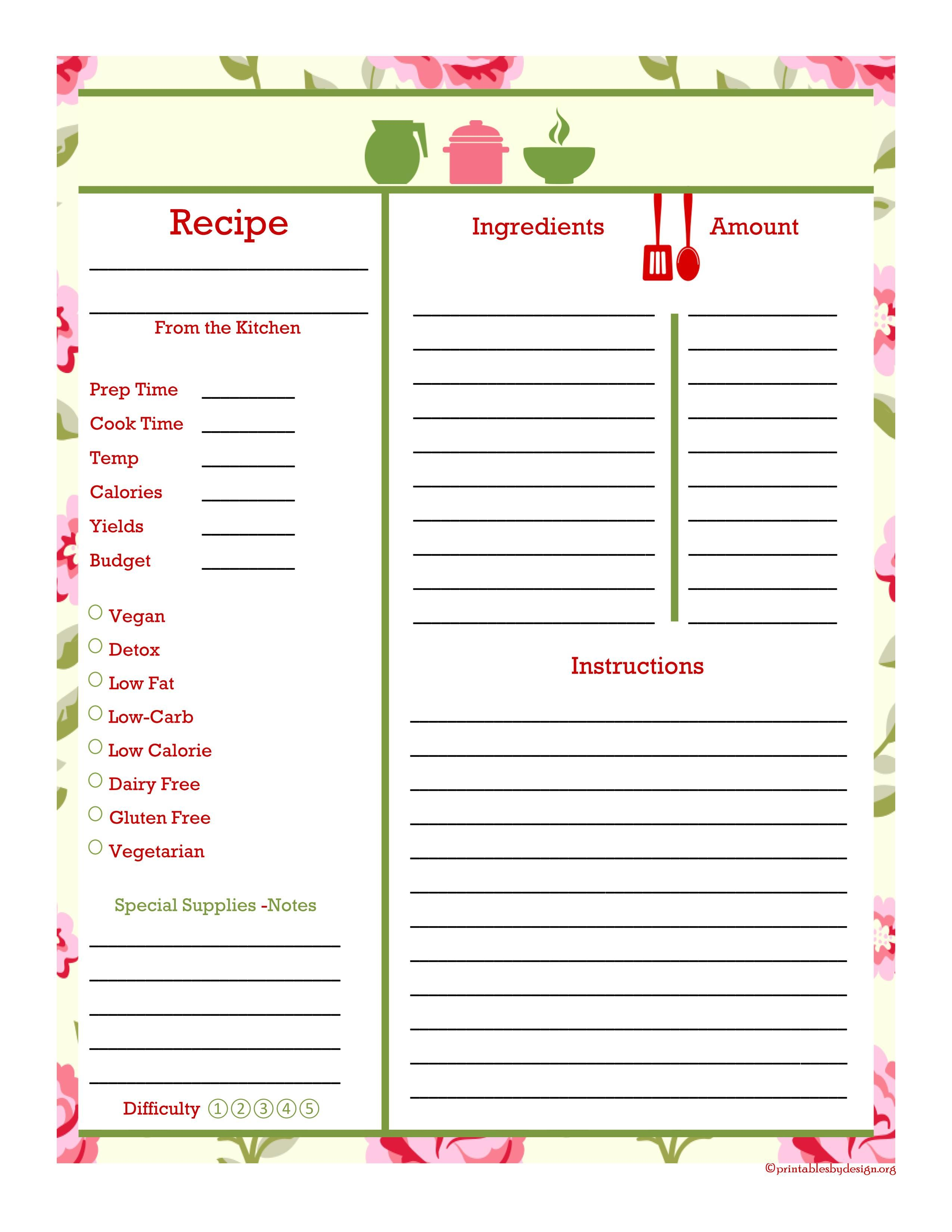 Hand Painted Rose Cooking Elements Recipe Card Full Page Recipe Book Templates Recipe Cards Template Recipe Book Diy