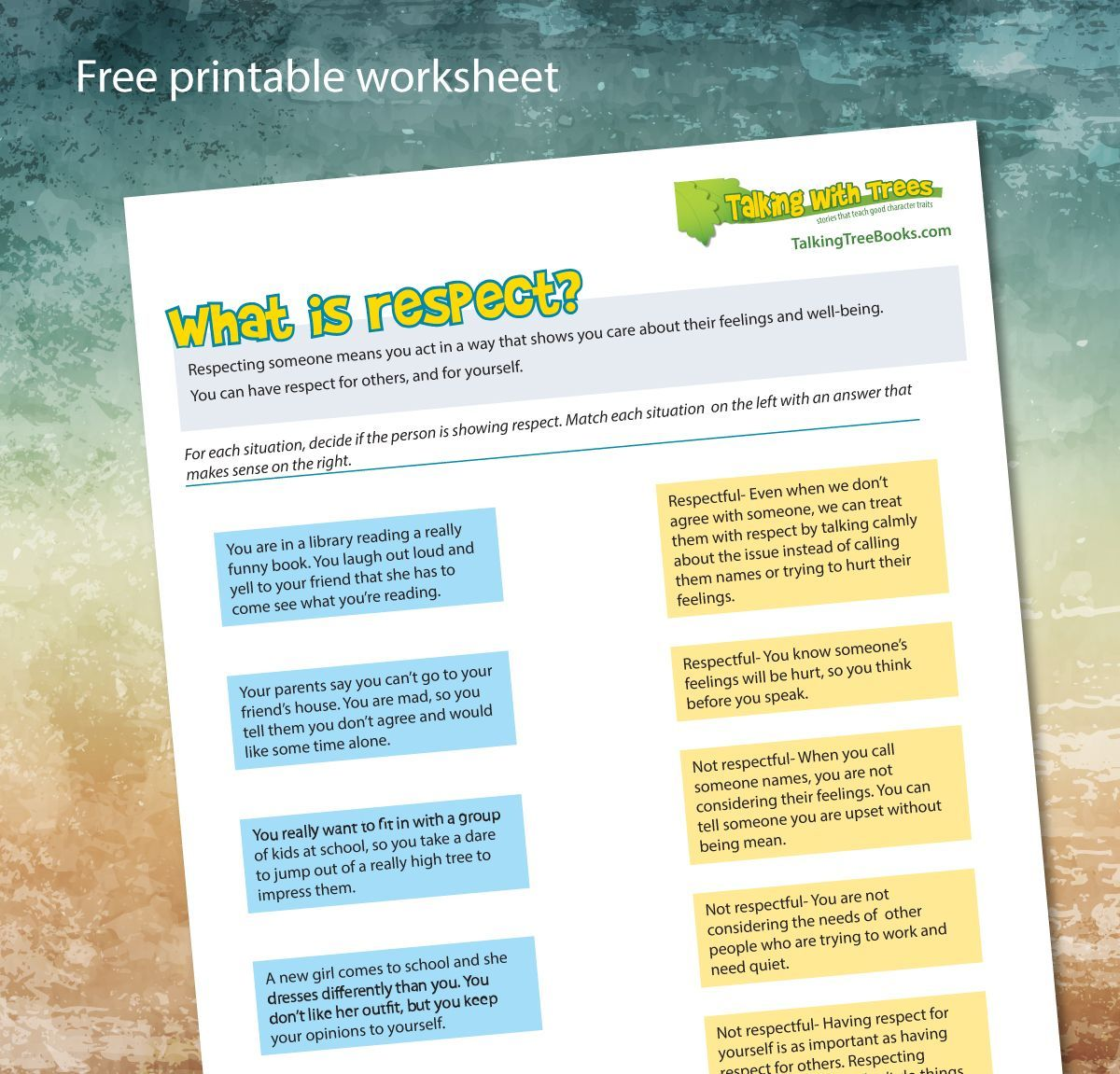 What is respect? Try this free printable respect worksheet for kids.    Teaching kids respect [ 1151 x 1200 Pixel ]
