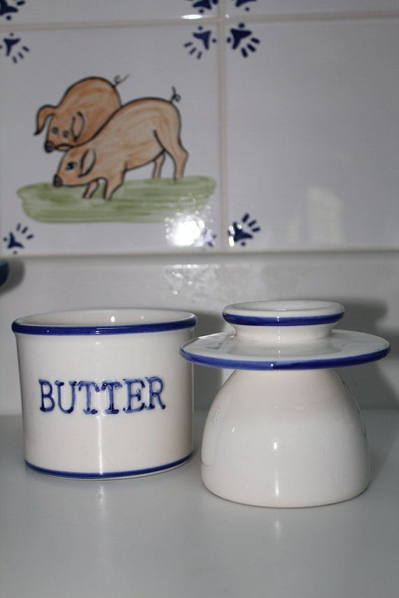Blue and White Ceramic Butter Dish Old Fashioned by TheAntiqueBird, $30.00