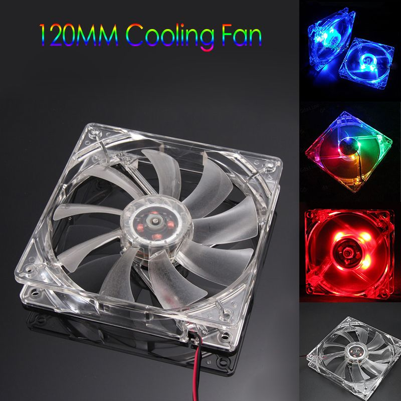 Cool 12v Pc Computer Fan Quad 4 Led Light 120mm Pc Computer Case Cooling Fan Mod Quiet Molex Connector Easy Installe Computer Fan Computer Case Molex Connector