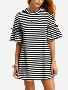 Striped Ruffuled Sleeve Swing Dress US$16.99