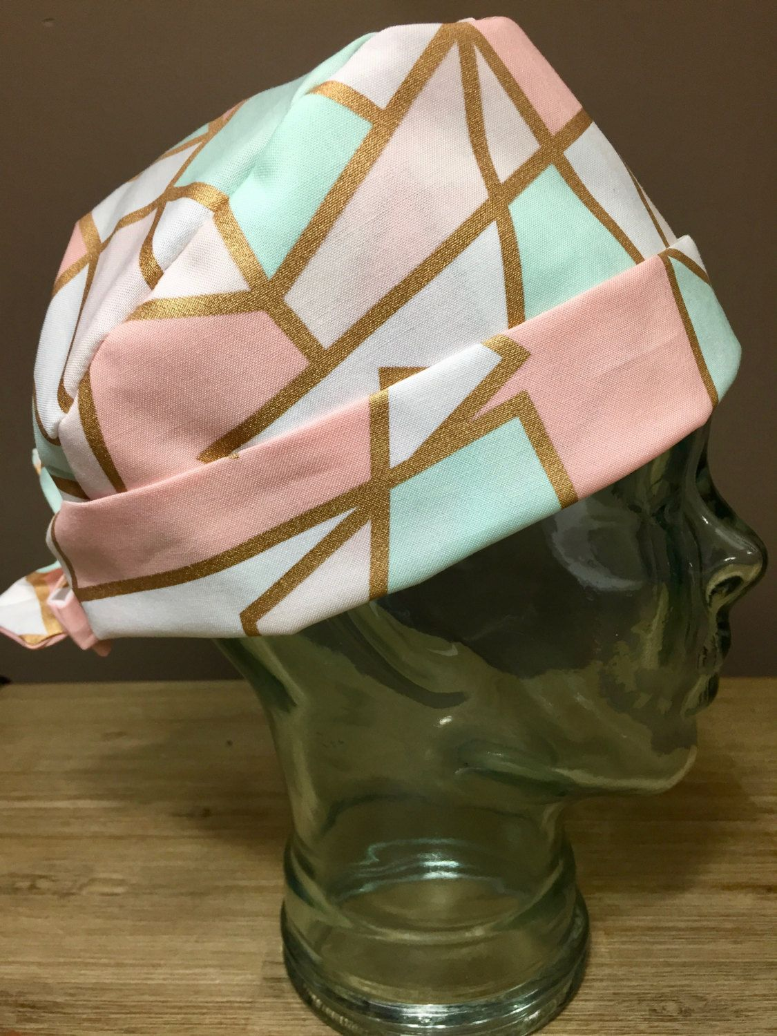 Mint, Pink & Coral Stained Glass Window Surgical Scrub Hat with Metallic Gold Detail, Women's Pixie Scrub Cap, Custom Caps Company by CustomCapsCompany on Etsy