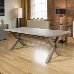 Mazing Farmhouse Style Solid Oak Rectangular Dining Table Parquet