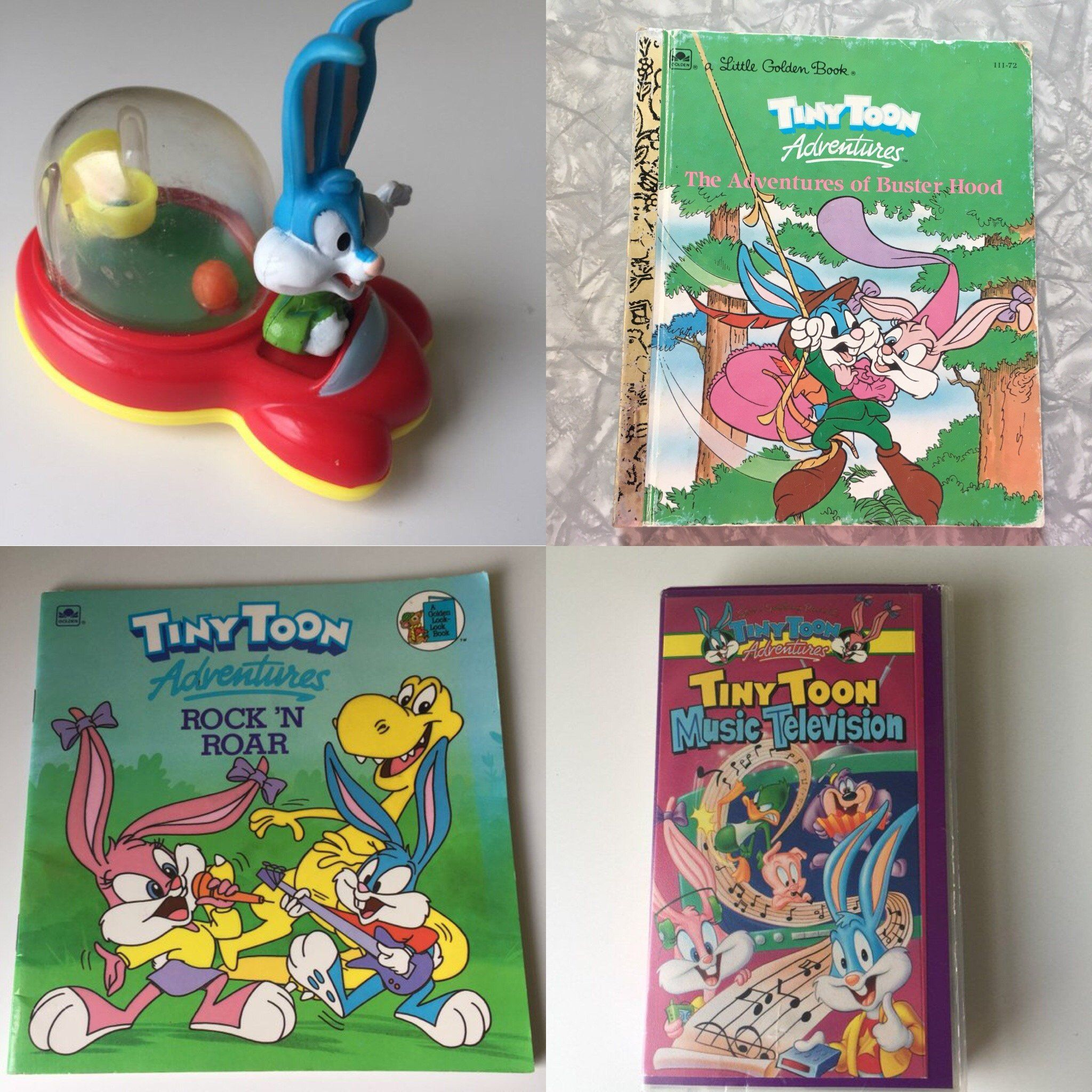Lot Of 2 1990 Tiny Toon Adventures Large Hard Cover Story Books Warner Bros Storybook Adventure Tiny